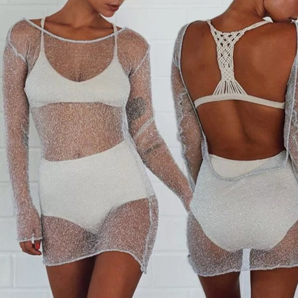 5f9ffcad62 Dresses | Sheer White Silver Mesh Dress Cover Up See Through | Poshmark